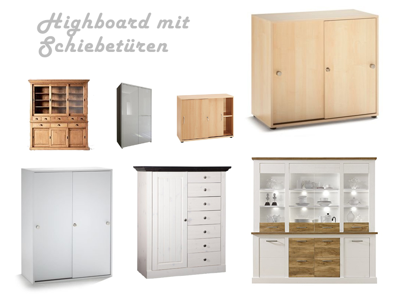 hochwertiges highboard mit schiebet ren. Black Bedroom Furniture Sets. Home Design Ideas